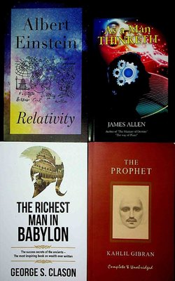 As-a-Man-Thinketh-by-James-Allen,-The-Richest-Man-In-Babylon-by-George-S-Clason,-The-Prophet-by-Kahlil-Gibran-and--Relativity-by-Albert-Einstein-(Paperback)-Pack-of-4-Books