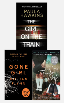 Gone-Girl-by-Gillian-Flynn,-The-Girl-on-the-Train-by-Paula-Hawkins-and-The-Time-Traveler's-Wife-by-Audrey-Niffenegger
